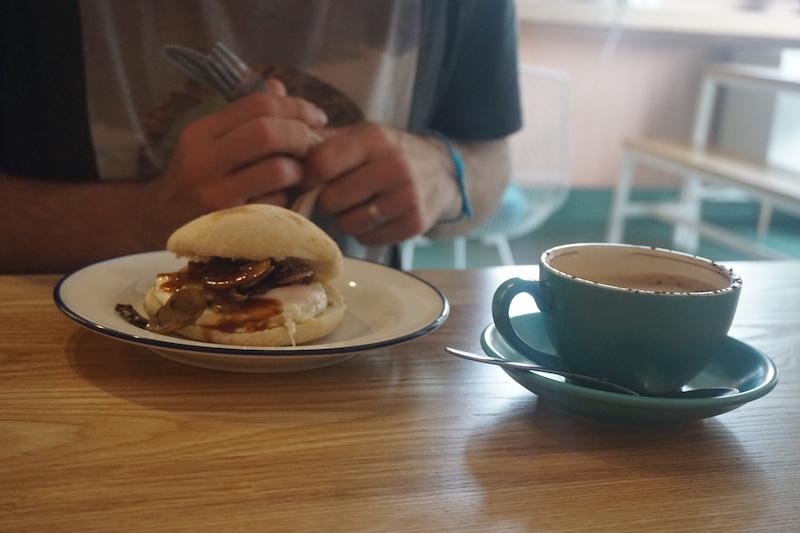 Breakfast butty at Miss Lucy's restaurant, Queenstown.